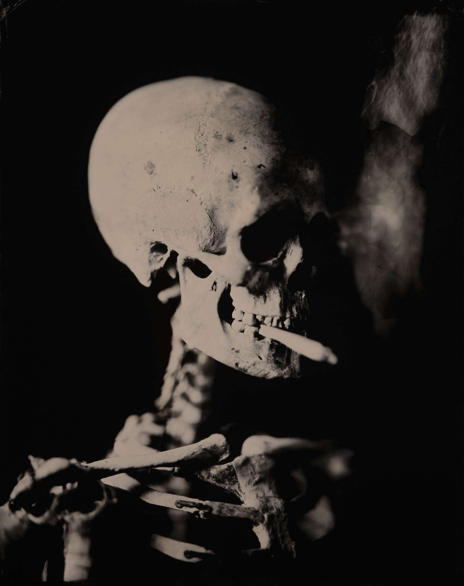 Head of a Skeleton with a Burning Cigarette, 2019